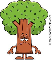 Sick Cartoon Tree - A cartoon illustration of a tree looking...