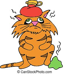 Sick Cat - An image of a sick cat with headache and upset...