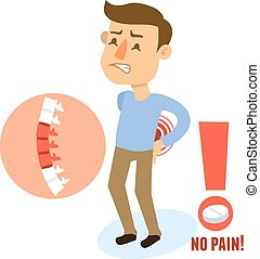 Sick character back pain - Sick back pain male person...