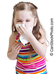 sick child wiping or cleaning nose with tissue isolated on...