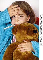Sick child with fever - Sick child with thermometer in her...