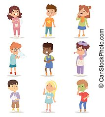 Sick children vector set. - Children sick sickness disease...