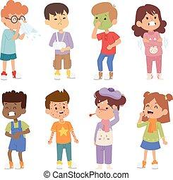 Sick children vector set.
