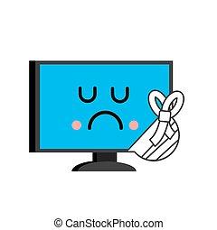 Sick computer. sore PC Emoji. Monitor in bandage. Vector illustration