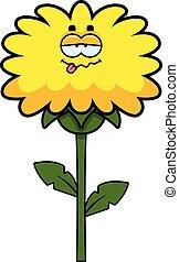Sick Dandelion - A cartoon illustration of a dandelion...