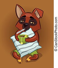 sick dog. dog holds the pillow, a cup of tea and a thermometer. illustration for a veterinary clinic. vector