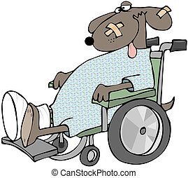 Sick Dog In A Wheelchair - This illustration depicts a sick...