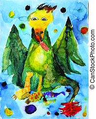 Sick dragon, a broken leg, blue background