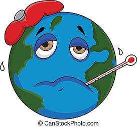 Sick earth cartoon - Vector illustration of Sick earth