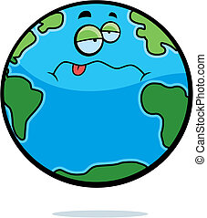 Sick Earth - A cartoon planet Earth with a sick expression.