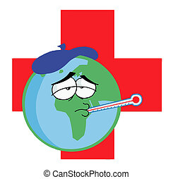 Sick Earth Over A Red Cross