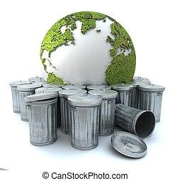 Sick earth showing Europe in the dustbin