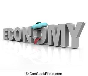 Sick Economy - Word - The word economy is sick with icepack...
