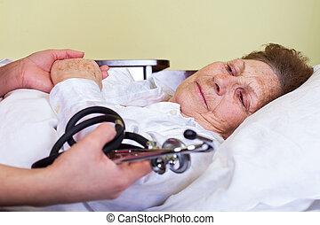 Sick elderly woman