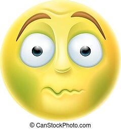 Sick Emoji Emoticon - Sick looking green emoji emoticon...