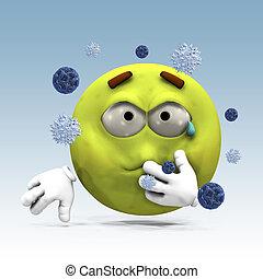 Sick emoticon - Illustration of 3d sick emoticon and virus...