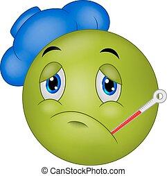 Sick emoticon smiley cartoon - Vector illustration of Sick...