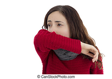 Sick flu woman coughing - Sick adult caucasian woman...