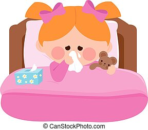 Sick girl in bed in her room. Vector illustration - Little...