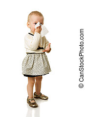 Sick girl sneezing standing isolated on white