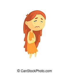 Sick girl with long hair suffering from stomach ache, unwell teen needing medical help cartoon character vector illustration