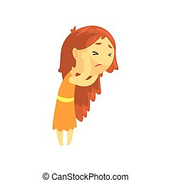 Sick girl with long hair touching her head suffering from headache, unwell teen needing medical help cartoon character vector illustration