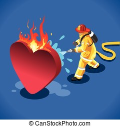 Sick Heart Concept Isometric - Sick Heart and his Fireman....
