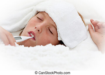sick ill child with thermometer