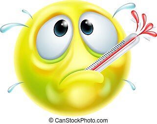 Sick Ill Thermometer Cartoon Emoji Emoticon Face