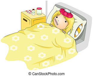 Sick Kid - Illustration of a Sick Girl