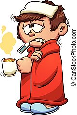 Sick kid - Kid sick with a cold and fever. Vector clip art ...