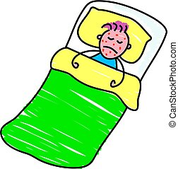 sick kid - little boy in bed with chickenpox - toddler art...