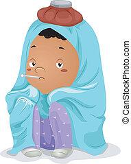 Sick Kid Little Boy Wrapped in Blanket