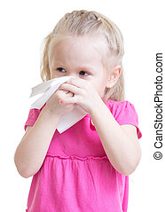sick kid wiping or cleaning nose with tissue isolated