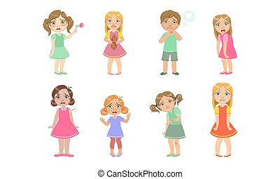Sick Kids Characters Set, Cute Boys and Girls Suffering From Different Symptoms Vector Illustration