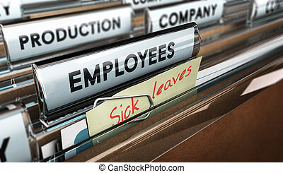 Sick Leave - Close up on a file tab with the word employees...
