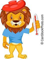 Sick lion, illustration, vector on white background.