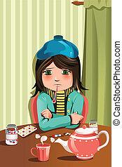 Sick little girl - A vector illustration of a sick little ...