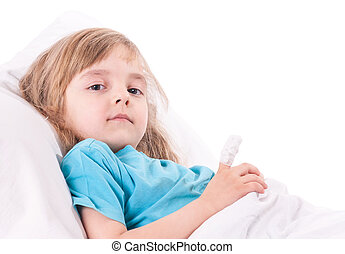 Sick little girl in bed