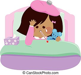 Sick little girl in her bed. Vector illustration