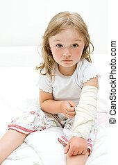 sick little girl - sick litttle girl  on bed