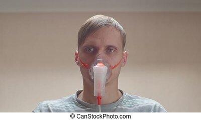 Sick Man Closeup - Sick man closeup portrait in oxygen mask ...
