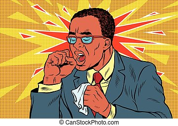 Sick man coughing. Pop art retro vector illustration....