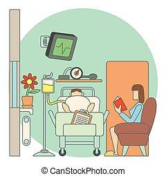 Sick man lies in hospital ward concept, flat style