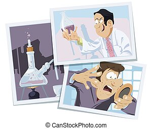 Sick man looks in mirror. Evil scientist makes virus. Illustration for internet and mobile website. Funny people.