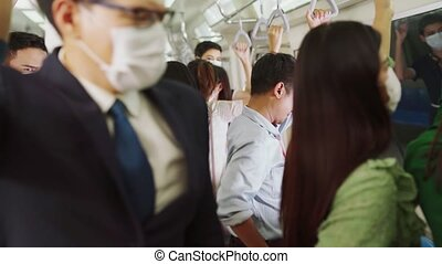 Sick man on train cough and make other people feel worry about virus spreading . Coronavirus COVID 19 pandemic and public transportation trouble concept .