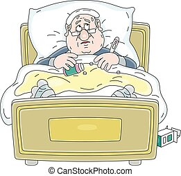 Sick man with infection lying in bed