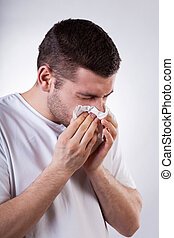 Sick man with running nose