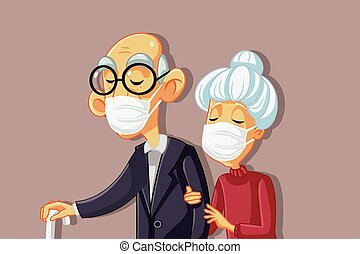 Sick Old People Wearing Protective Face Masks Vector
