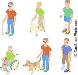 Sick people icon set, cartoon style - Sick people icon set....